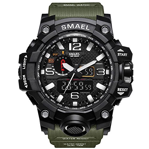 SMAEL Men's Analog Digital Sport Watch Dual Quartz Movement Military Time Water Resistant with Backlight