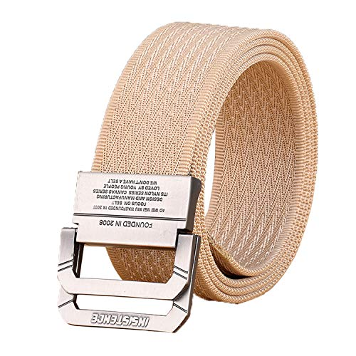KM4U Nylon Web Belts for Men, Sports Tactical Belt Military Style Double Wide Buckle
