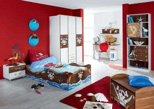 Jugendzimmer Set »DRAKE« alpinweiß, Kernnuss Nachbildung