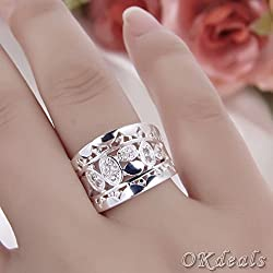 Beautiful Women Natural Crystal 925 solid sterling silver Ring R570 Size 7/8