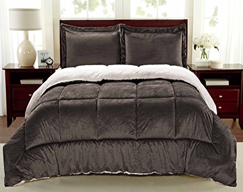 3 Piece King Bed (Cathay Home Fashions Reversible Faux Fur and Sherpa 3 Piece Comforter Set, King, Chocolate)