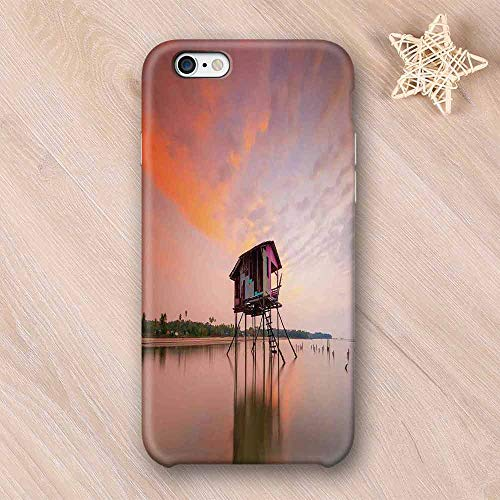 Rustic Home Decor No Odor Compatible with iPhone Case,Single House at Sunset After Flash Flood Water in Asian Malaysian Village Compatible with iPhone 7/8 Plus,iPhone 6/6s ()