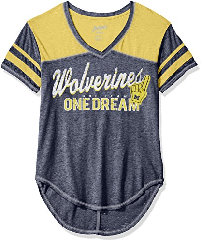 OuterStuff NCAA Michigan Wolverines Youth Girls Vintage Short sleeve Football Tee, Large(11-13), Dark Navy