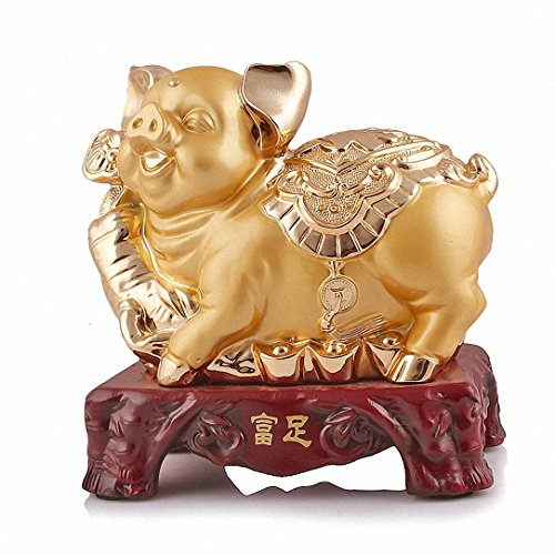 Wenmily 2019 Chinese Zodiac Pig Year Large Size Golden Resin Collectible Figurines Table Decor Statue