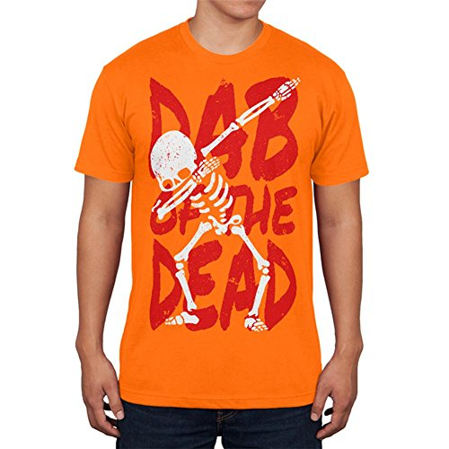 Old Glory Halloween Day Dab of The Dead Skeleton Mens T Shirt Mandarin Orange 2XL]()