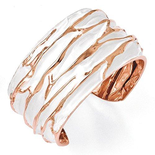De 36,5 mm-Argent fin 925/1000 plaqué or Rose Grand Bracelet à un effet décoiffé JewelryWeb