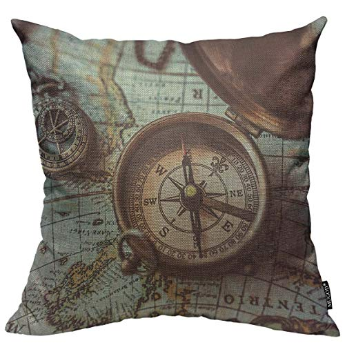 Mugod Throw Pillow Cover Antique Bronze Emblem Compass Necklace Pendant Binocular Telescopes on Ancient World Map Home Decorative Square Pillow Case for Bedroom Living Room Cushion Cover 18x18 Inch