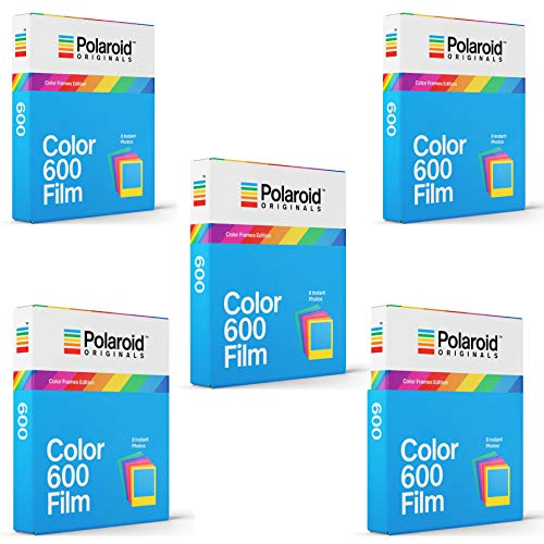 Polaroid Originals Instant Color Film for Color Frames (600 Camera) 5 Pack Bundle (600 Film Pack)