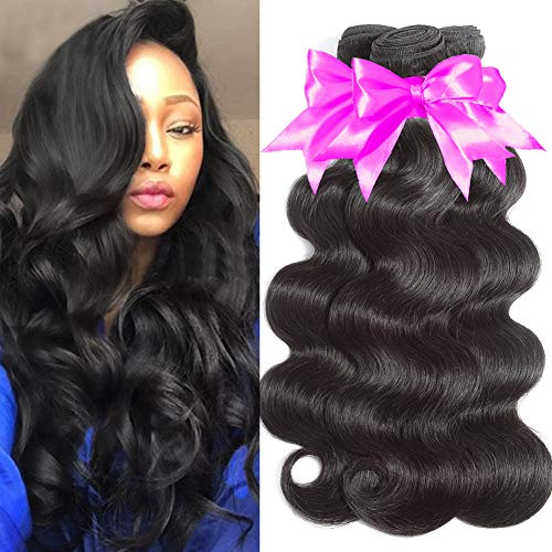 Flady 10A Human Hair Brazilian Body Wave 3 Bundles Unprocessed Virgin Brazilian Hair Weave Human Hair Extensions Natural Black Color (10 12 14inch) (Best Hairspray For Indian Hair)