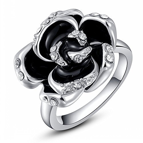 ROXI 2014 Hot on Sale 18K Platinum / Rose Gold Plated Black Rose Diamond Ring Best Christmas Gift for Women (8, Rose Gold) (Diamond Ring Sale compare prices)