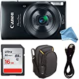 Canon PowerShot ELPH 190 Digital Camera w/ 10x Optical Zoom and Image Stabilization - Wi-Fi & NFC Enabled (Black) - ULTIMATE DigitalAndMore Camera Bundle for ELPH 190 (Case + 16GB SD + USB Cable)