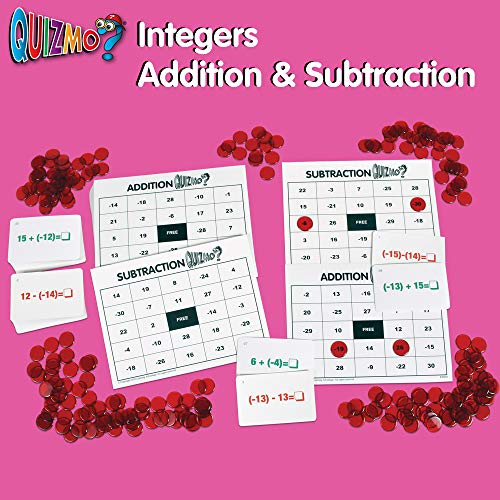 51nIIfQj mL - Learning Advantage QUIZMO Advanced Elementary Math Series - Set of 6 Bingo-Style Math Games for Kids - Teach Fractions, Decimals, Math Vocabulary, Geometry, Place Value and Integers
