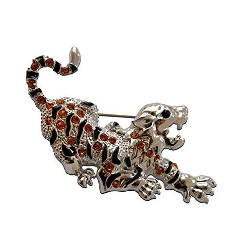 Sewanz Men's Leopard Brooch Pin,Silver Tone Crystals Lapel Stick ()