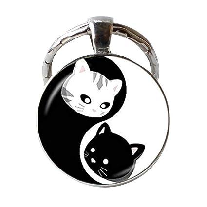 Llavero de gato Yin Yang, llavero de gatito, negro y blanco ...