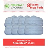 8 SteamFast Mop Pads Fit SteamFast SteamMax SF275 and SF370 Steam Mops; Compare to SteamFast Part No. A275-020; Designed & Engineered by Crucial Vacuum