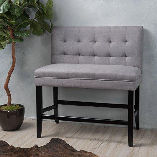 Christopher Knight Home 299967 Kenan Light Grey Fabric Barstool - High Bench Back