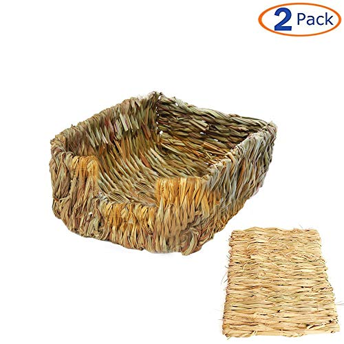 Tfwadmx Rabbit Grass Bed, Woven Grass Bunny Nest, Large Rabbit Hideout, Hay Mat for Hamster Gerbil Chinchillas Guinea Pig Chipmunk Squirrel Hedgehog Mice Other Small Animals