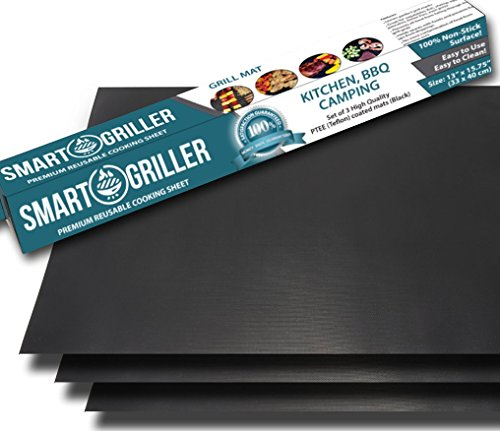 "BBQ Grill Mats & Baking Mats - Set of 3 Non Stick 15.75 x 13 Inch sheets - Heavier ""Teflon"" Coating for Longer Life - Reusable and Easy to Clean - Works on Gas, Charcoal and Electric Grills"