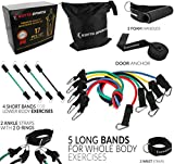17 pieces Set – Resistance Bands Set of 5 Long Exercise Bands and 4 Short Ankle Bands with Door Anchor, 2 Wrist Straps, 2 Ankle Straps and E-book Manual For Sale