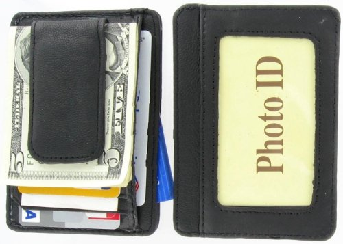 Fine Leather Hand Crafted Mans Man's Mens Men's Mini Wallet ID Credit Card Holder with Magnetic Money Clip