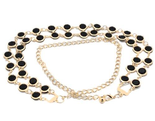 - BONAMART Women Metal Adjustable Chain Skinny Belt studded Acrylic Gem 110cm