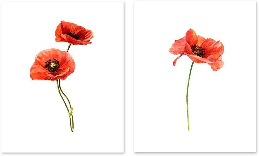 SINGLE RED POPPY CANVAS WALL ART PICTURE LARGE 75 X 50 CM