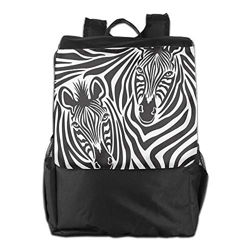 Beach Surfer Outdoor Backpacks Couple of Zebras Eyes Face Heads Closeup Image Pattern Artistic Design Knapsack Polyester Multifunction Youth
