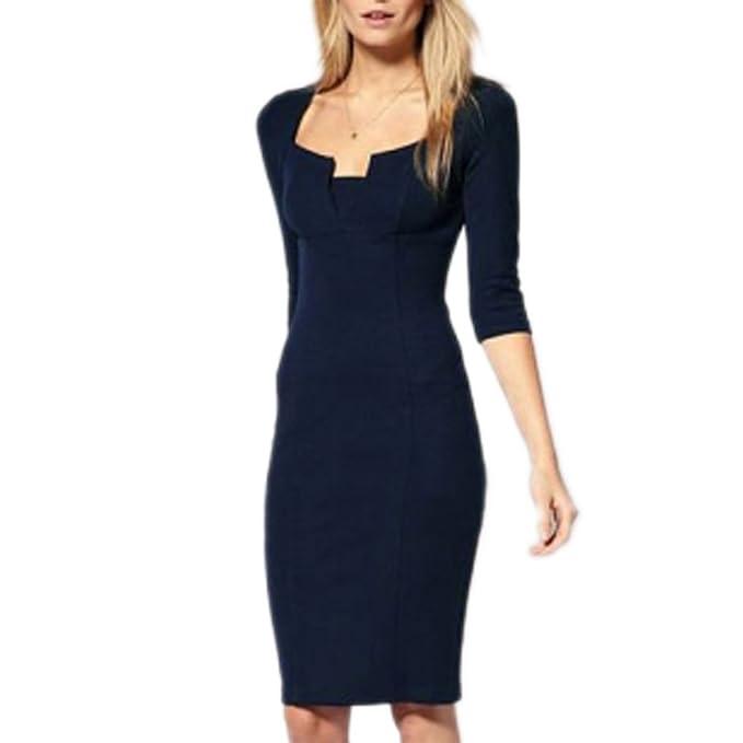 87c38fb1f79e mywy - Abito donna tubino blu elegante vestito aderente festa vestitino  party occasione, colore blu