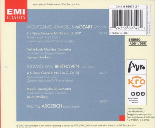Live from the Concertgebouw, 1978 & 1992 - Mozart: Piano Concerto No. 25, K. 503 / Beethoven: Piano Concerto No. 1, Op. 15
