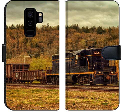 Samsung Galaxy S9 Plus Flip Fabric Wallet Case Image of Train Transport Locomotive Engine Railroad Old Travel Smoke Transportation Railway Track steam Metal rai