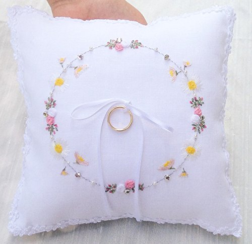 Hand Embroidered Ring Bearer Pillow