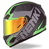NENKI Helmets NK-856 Full Face Motorcycle Helmets DOT Approved With Iridium Red Visor and Inner Sun Shield Attached Outer Clear Visor (M, Matt Black & Green)