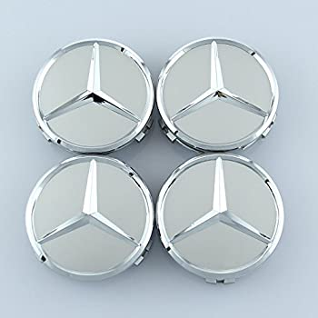 ZZHF1 Wheel Center Caps For Mercedes Benz 75mm - Raised Star Wheel Rim Insert Caps (4Pcs) (Silver)