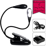 Clip light, book light & reading bed light (portable led light, rechargeable, adaptator & usb cable included) with 2 adjustable arms & padded clip lamp - 5 brightness mode for this clip on light