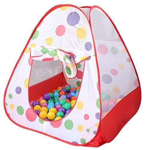 Eyourhappy Children Play Tent Indoor and Outdoor Easy Folding Polka Dot Ball Pit Play House Baby Beach Tent with Zippered Storage Bag for Kids