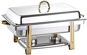 Chafing Dish Buffet Set Chafers 8 Quart Full Size Food Warmer with Gold Accented, for Parties Buffet Serving Set Catering Chafer