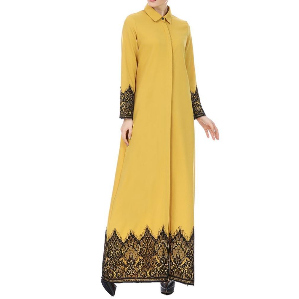 Vintage Coats & Jackets | Retro Coats and Jackets SUKEQ Clearance Women Muslim Dress Dubai Kaftan Long Sleeve Long Dress Abaya Islamic Clothing Gown Jalabiyas (Medium Yellow) $15.29 AT vintagedancer.com