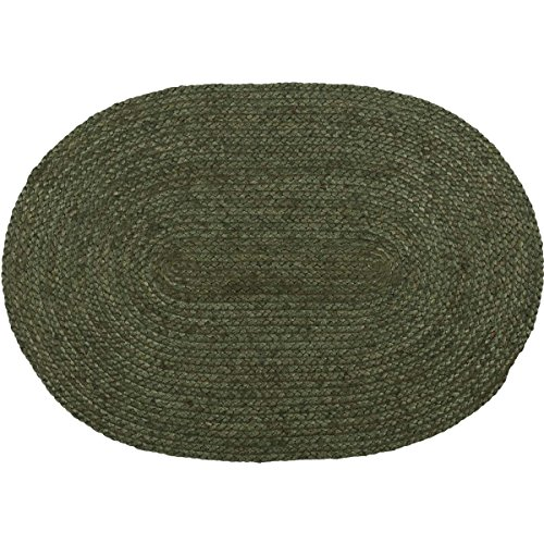 VHC Brands 37880 Seasonal Rustic & Lodge Flooring-Cypress Jute Green Oval Rug, 20 x 30, Non-Stenciled (Flooring Transition From Kitchen To Family Room)