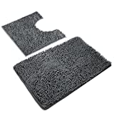 VDOMUS Microfiber Bathroom Contour Rugs Combo, Set of 2 Soft Shaggy Non...