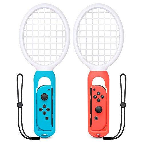 (UMTELE Tennis Racket with Wrist Straps for Nintendo Switch Joy-Con, Compatible with Game Mario Tennis Aces[2-Pack])