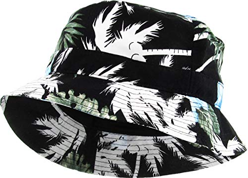 H-219-H0611 Festival Bucket Hat: Hawaiin Blue/Black