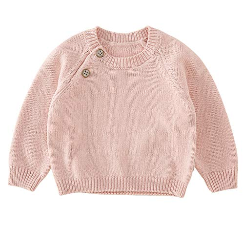 pureborn Baby Boys Girls O-Neck Solid Toddler Children Sweaters Knitted Pullover Coats Outwear Sweatshirt Pink 1-2 Years