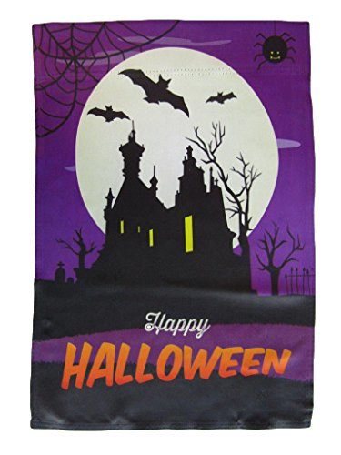 ALBATROS 12 inch x 18 inch Happy Halloween Night Purple House Vertical Sleeve Flag for Garden for Home and Parades, Official Party, All Weather Indoors Outdoors