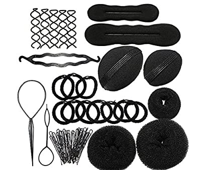 Hair Styling Accessories Set for DIY,Magic Beauty Hairstyle,Foam,Sponge,Styling Pads,Donut Maker Ponytail Bun Twister Tie,Pull Hair Pin,Updo Tuck Insert Tool Hairdresser Accessory Tool by DAXUN