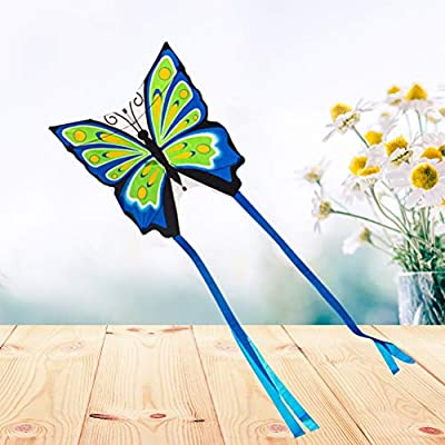 LIOOBO Butterfly Shaped Kite Kite - Easy to Assemble, Launch, Fly - Premium Quality, Great for Beach Use - The Best Kite for Everyone - Girls, Boys, Kids, Adults (Blue): Sports & Outdoors