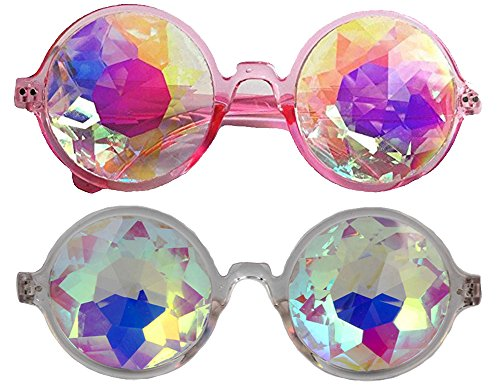 Music Festival Costumes (Festivals Kaleidoscope Glasses for Raves - Goggles Rainbow Prism Diffraction Crystal Lenses (One Size-Adjustable head band, Pink+Clear))
