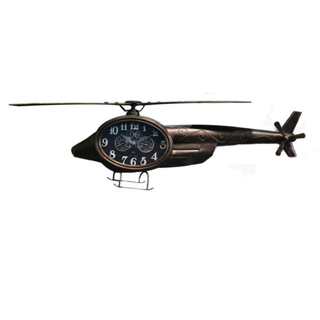 YFF-壁時計 レトロノスタルジック飛行機の壁時計モダンミニマリストリビングルーム/ベッドルーム/スタディ壁ミュート装飾時計クリエイティブアイアンクラフト航空機モデルストレージシェルフ (色 : さび色) B07CKQP3HV さび色 さび色