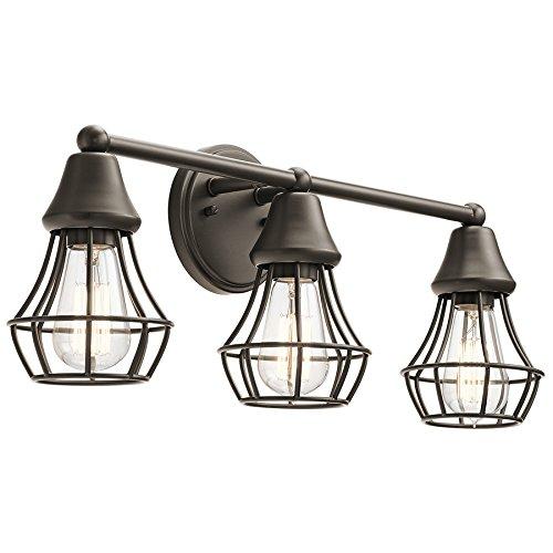 Kichler Bayley 3-Light 9-in Olde bronze Cage Vanity Light -