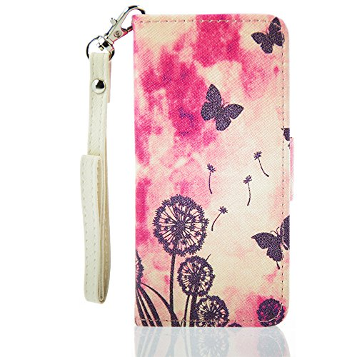 Inask Pu Leather Cover Case Dandelion for Iphone 5 5g 5s with Free Screen Protector Film Hand Strap