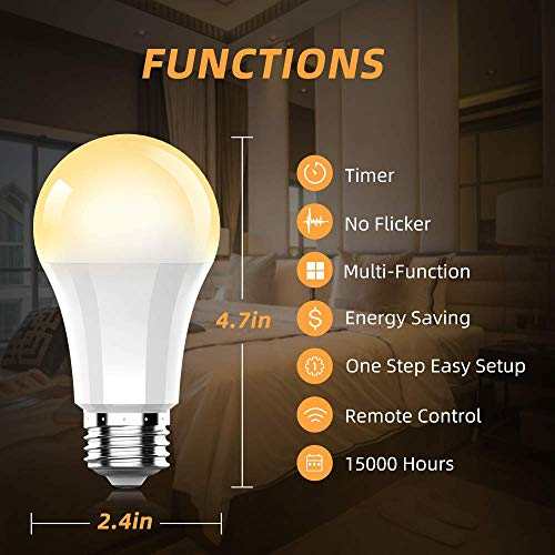 Remote Control LED Bulb by Ankuoo,Dimmable E26 LED Light Bulb with Wireless Light Switch,Wireless Bulbs Warm White,165 ft Range, 4 Timing,3 Way,No Hub Required